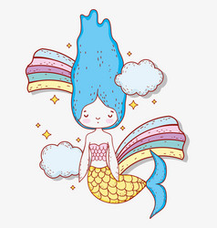 Mermaid woman with cloud and cute rainbows vector