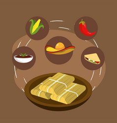 mexican food with chili and cob with sauce vector image