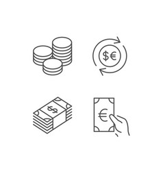 Money cash and currency exchange line icons vector