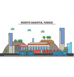 North dakota fargocity skyline architecture vector