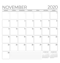 November 2020 monthly calendar planner template vector