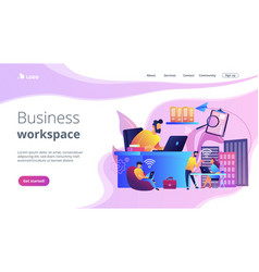 On-demand urban workspace concept landing page vector