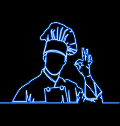 One continuous line chef line icon neon concept vector