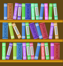 online education bookcase or book shelf backdrop vector image