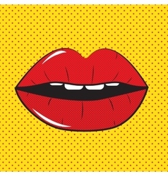 Open Red Lips Pop Art Background vector image