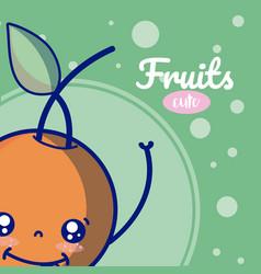 orange cute fruits cartoons vector image