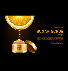 Orange sugar scrub cosmetics jar ad banner mockup vector