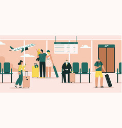 passengers in airport terminal with luggage vector image