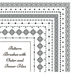 Pattern brushes with outer and inner tiles vector