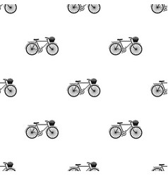 Pink bicycle with basket icon in black style vector