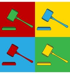 Pop art judge gavel icons vector
