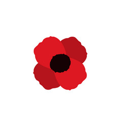 poppy flower memorial symbol world war icon vector image