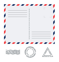 postcard in air mail style with paper texture and vector image