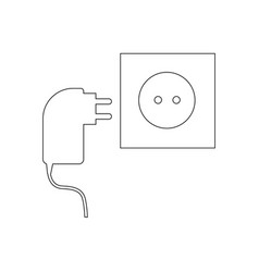 power cable and power socket vector image