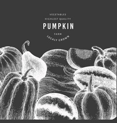 pumpkin design template hand drawn on chalk board vector image