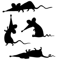 Rat cartoon poses stencil vector