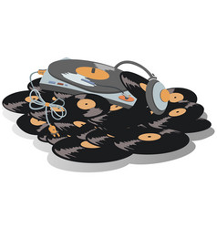 Record player headphones are on the big pile of v vector
