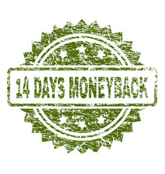scratched textured 14 days moneyback stamp seal vector image