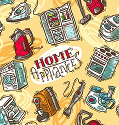 Seamless pattern home appliances vector