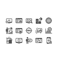 seo icons increase sales business strategy and vector image
