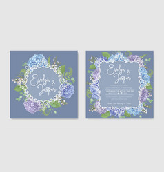 Set for two wedding invitation greeting card vector