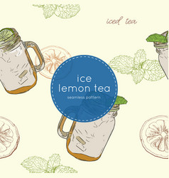 set of iced lemon mint tea seamless pattern vector image