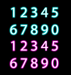Set of neon numbers isolated vector