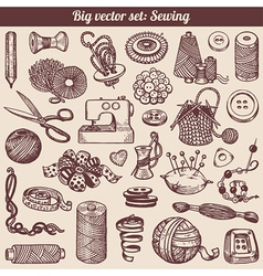 Sewing And Needlework Doodles Collection vector image