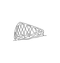 Single continuous line drawing sweet waffles vector