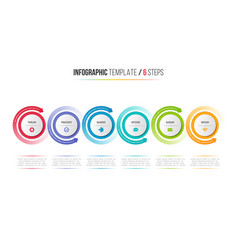 six steps infographic process chart with circular vector image