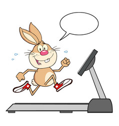 smiling rabbit cartoon character running vector image
