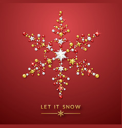 snowflake background with shining stars bow and vector image