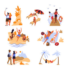 travelers beach mountains and sea voyage vacation vector image