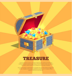 Treasure poster with wooden chest full of ancient vector