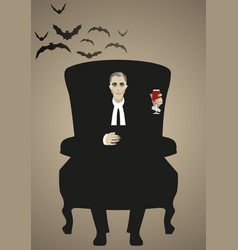 Vampire sitting in an armchair holding a glass vector