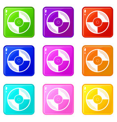 Vinyl record icons 9 set vector