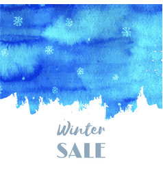 Winter sale hand paint blue watercolor texture vector