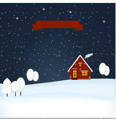 Winter wonderland night snow scene vector