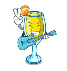 With guitar mimosa mascot cartoon style vector
