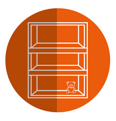 Wooden shelf with toy vector