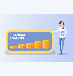 worker and money graph coins chart board vector image