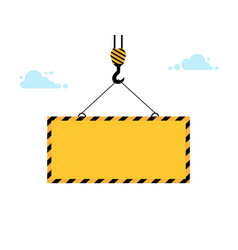 yellow warning sign lowers crane on winch warning vector image