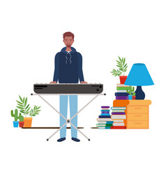 Young man with piano keyboard in living room vector