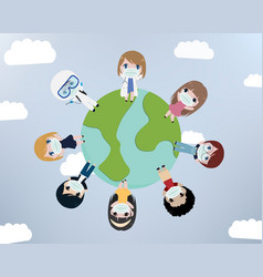 young people world wear mask vector image