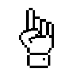 black outline pixelated hand pointing up vector image vector image