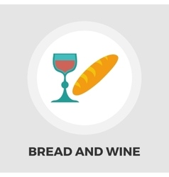 Bread and wine flat icon vector image vector image