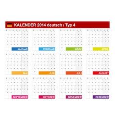 Calendar 2014 German Type 4 vector image vector image