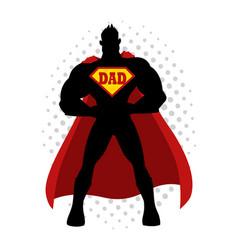 cartoon silhouette of a superhero with dad symbol vector image vector image