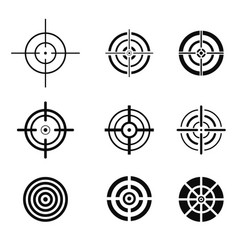 collection of black target icons aim signs set vector image