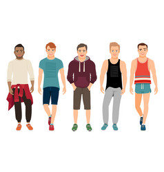 healthy men in sports clothes vector image